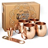 Moscow Mule Copper Mugs set of 4, 16 oz in Gift Box + BONUS Bottle Opener, Shot Glass, Recipe E-Book. Handcrafted, Hammered