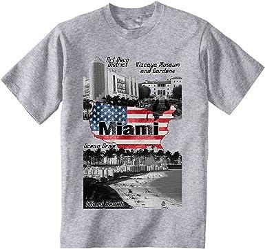 teesquare1st Miami Beach USA Camiseta Gris para Hombre de Algodon: Amazon.es: Ropa y accesorios