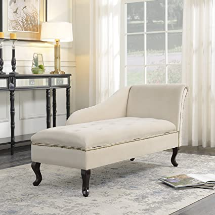 Exceptionnel Belleze Nailhead Trim Velveteen Storage Spa Chaise Lounge Chair Tufted  Couch Bedroom Living Room Fold Open