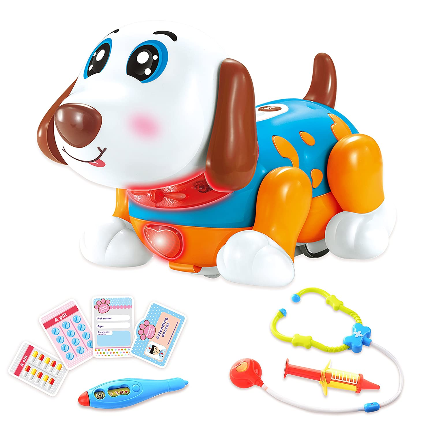 Pet Veterinarian Toys Doctor Kit for Kids for 2,3,4 Years Old Boys and Girls Birthday Gift Interactive Electronic Robot Dog Responds to Touch with Dance, Music & Barking (Red) GAMZOO