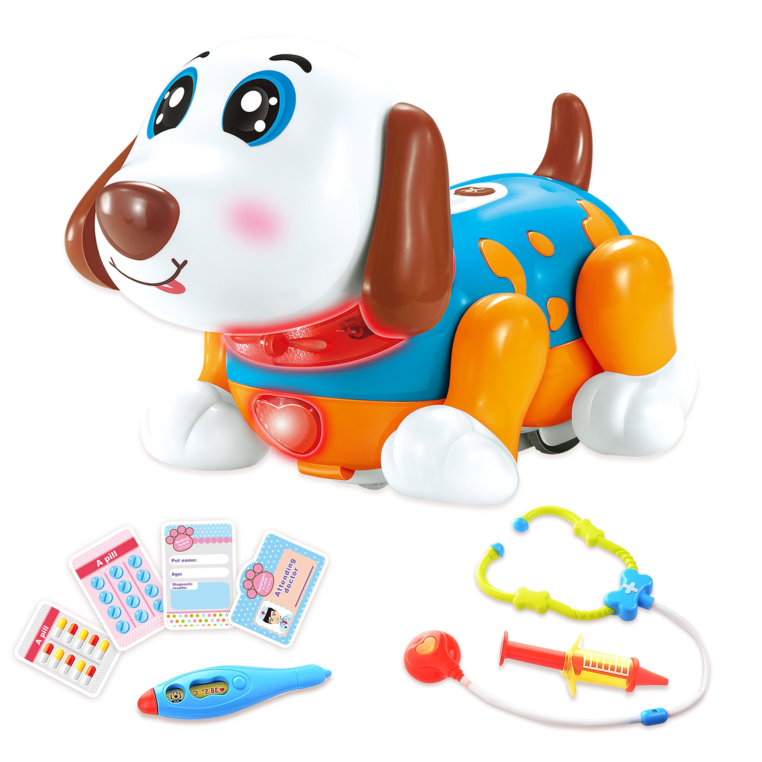 Pet Veterinarian Toys Doctor Kit for Kids for 2,3,4 Years Old Boys and Girls Birthday Gift Interactive Electronic Robot Dog Responds to Touch with Dance, Music & Barking (Blue)