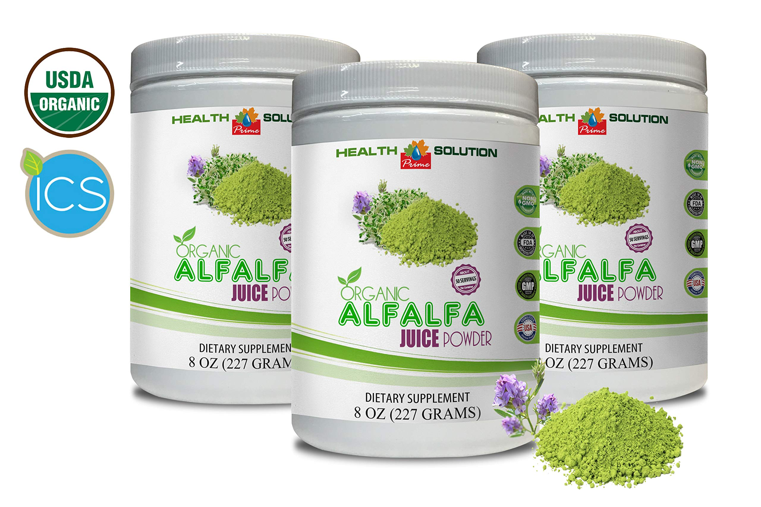 antioxidant Vitamin Supplement - Organic Alfalfa Juice Powder - Alfalfa superfood - 3 Cans 24 OZ (150 Servings)