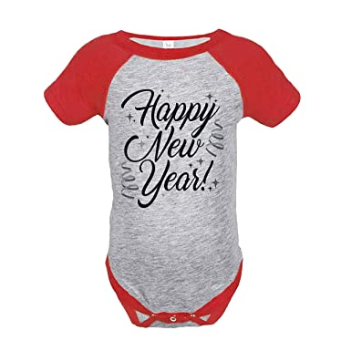 4a45cf5d084a 7 ate 9 Apparel Kids Happy New Year's Eve 6 Months Red Raglan Onepiece