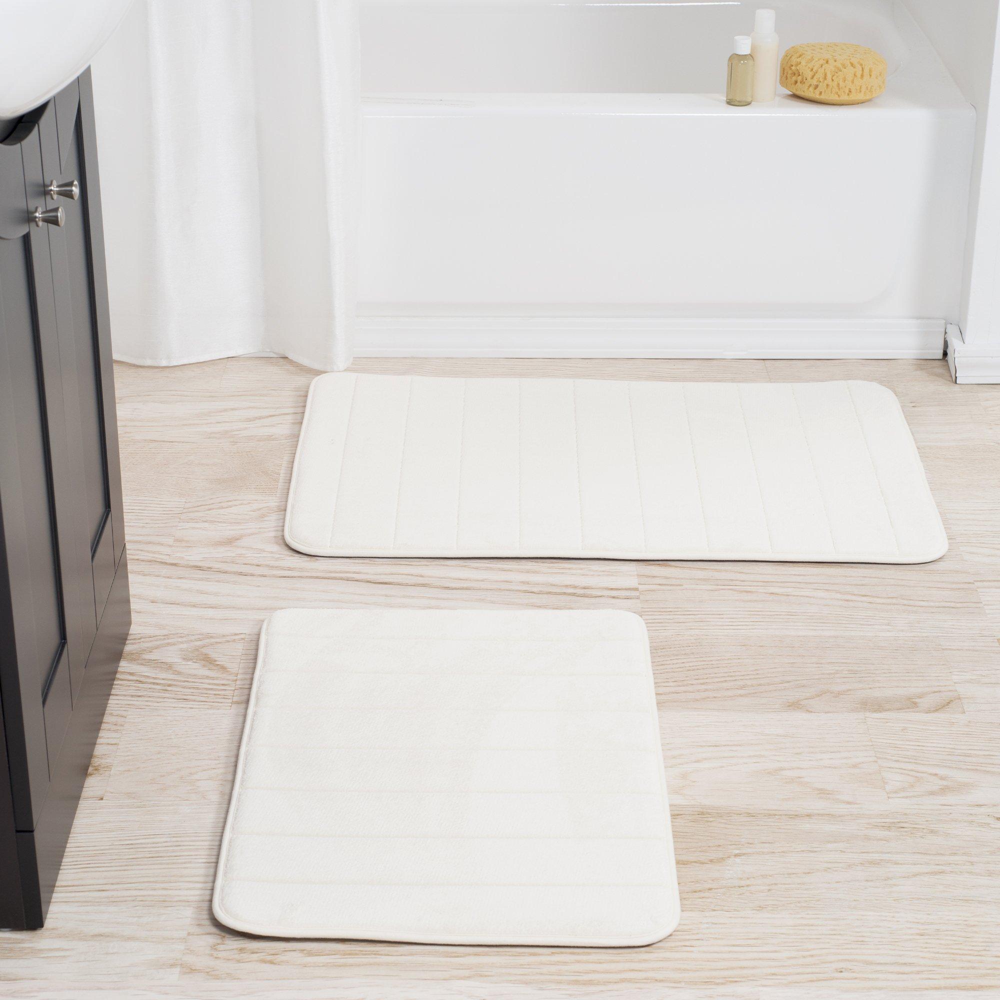 Lavish Home 2 Piece Memory Foam Striped Bath Mat, White
