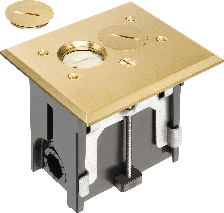 Brass floor box kit gurus floor for Floor electrical outlet