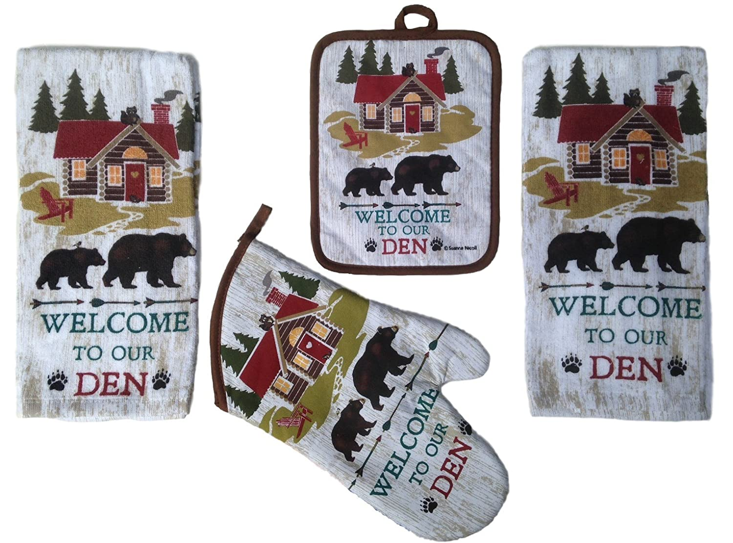 4 Piece Welcome to Our Den Kitchen Linen Set - 2 Terry Towels, Oven Mitt, Potholder N/A