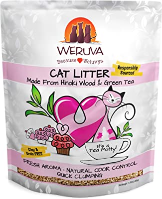 Weruva It's A Tea Potty! Hinoki Wood & Green Tea Natural Cat Litter, Flushable