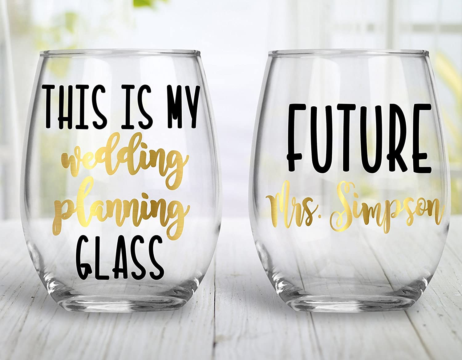 This Is My Wedding Planning Stemless Wine Glass, Engagement Gift - 15 0z. Choose your colors