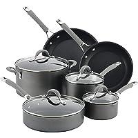Circulon Elementum Hard Anodized Nonstick Cookware Pots and Pans Set, 10 Piece, Oyster Gray