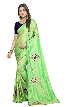 d55e25bb497dfe Deepjyoti Creation Women s Elephant Design Embroidery Figure Work Paper  Silk Saree With Blouse Piece  Amazon.in  Clothing   Accessories
