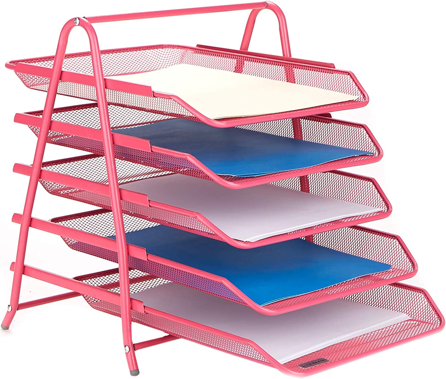 Mind Reader 5TPAPER-PNK Desk Organizer with 5 Sliding Trays for Letters, Documents, Mail, Files, Paper, Pink, 5 Tier