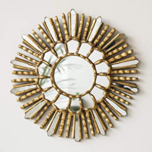 "Sunburst Wood Small Round Mirror 11.8"", Peruvian Decorative Sunburst Gold Mirror, Accent Round Mirror for Wall decor""Lima Rays"""