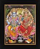 Avercart Lord Vishnu / Shree Vishnu / God Vishnu / Narayana Hari with Laxmiji / Goddess Lakshmi / Vishnu and Laxmi Poster 8.5x11 inch with Photo Frame (21x28 cm framed)