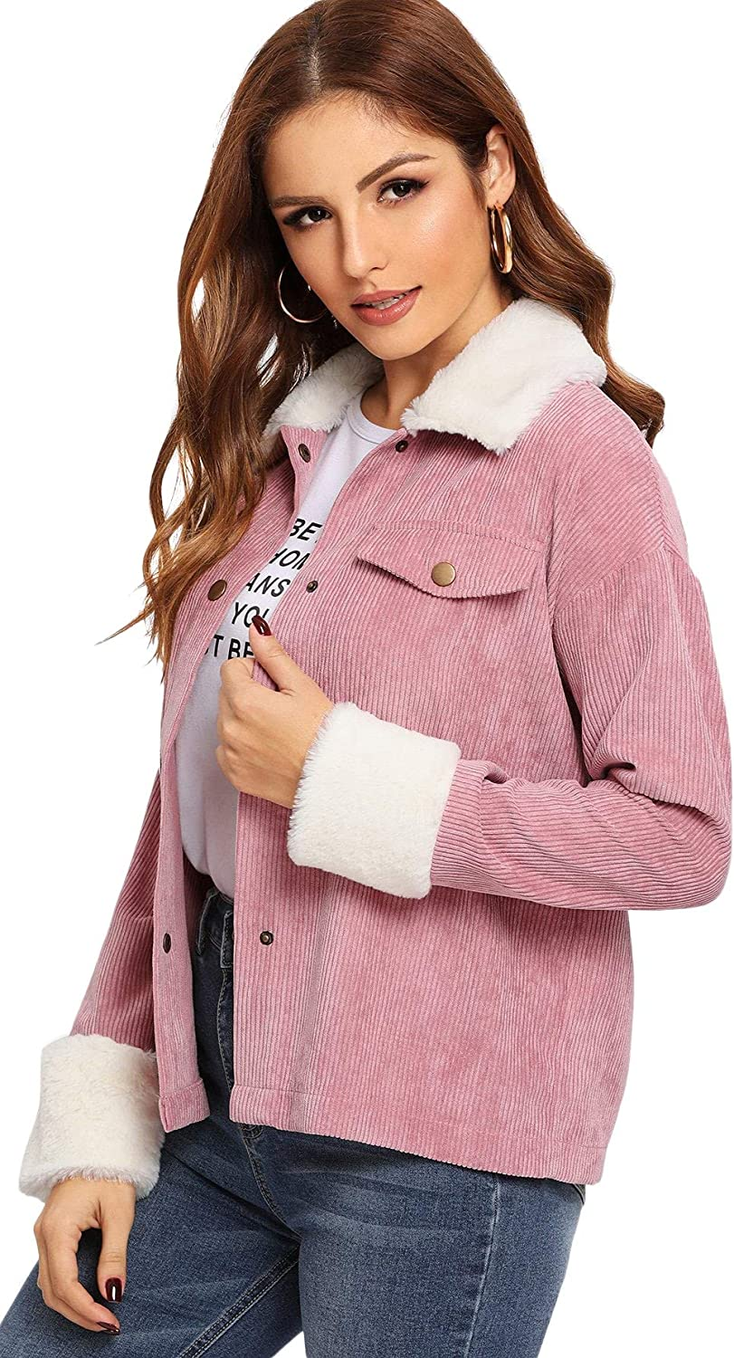 Floerns Womens Button Front Drop Shoulder Contrast Faux Fur Thin Jacket