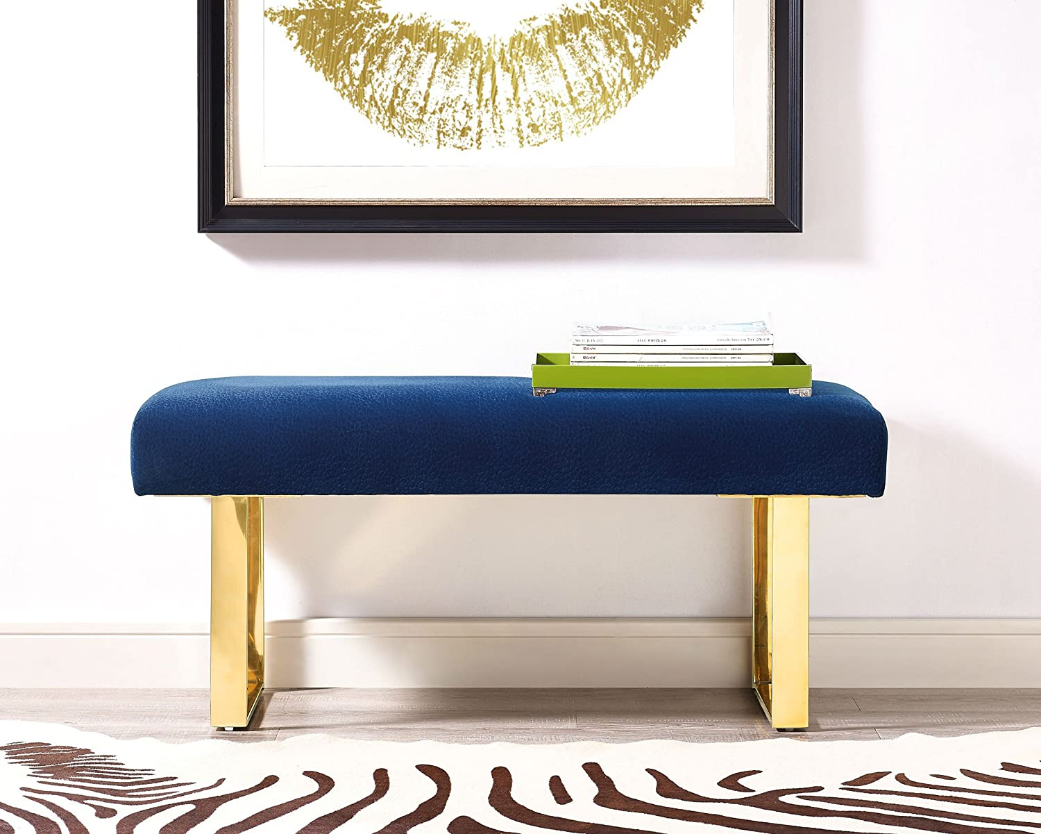 Amazon com living room furniture standard benches modern alexis blue velvet bench gold leg handmade tov o69 40 2 w x 16 d x 18 h kitchen dining