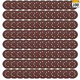 100 PCS Sandpaper, GOH DODD 5 Inch 8-Hole Hook