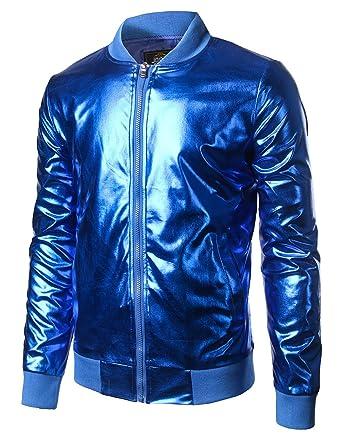 c834178880a JOGAL Mens Metallic Nightclub Styles Zip up Varsity Baseball Bomber Jacket  Small Blue