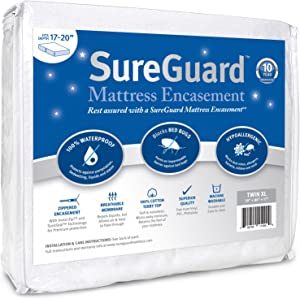 Twin XL (17-20 in. Deep) SureGuard Mattress Encasement - 100% Waterproof, Bed Bug Proof, Hypoallergenic - Premium Zippered Six-Sided Cover - 10 Year Warranty