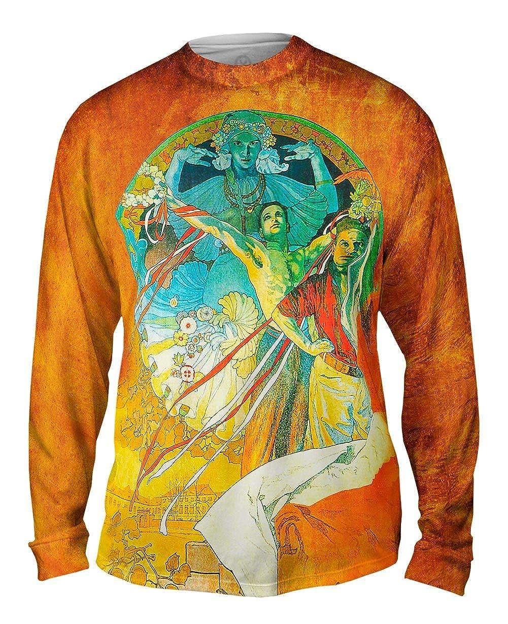 Mens Long Sleeve TShirt Alphonse Mucha-8th Sokol Festival-1912 Yizzam
