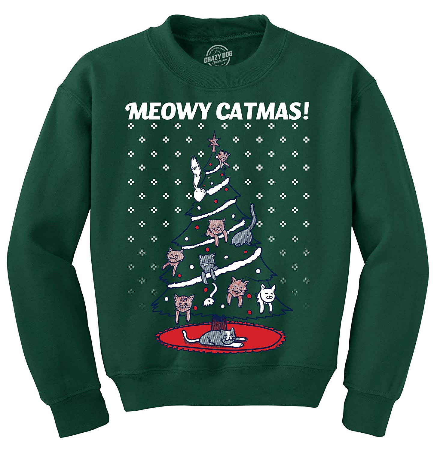Crazy Dog Tshirts - Meowy Catmas Funny Christmas Holiday Crew Neck Sweatshirt - 017MeowyCatmasCREW