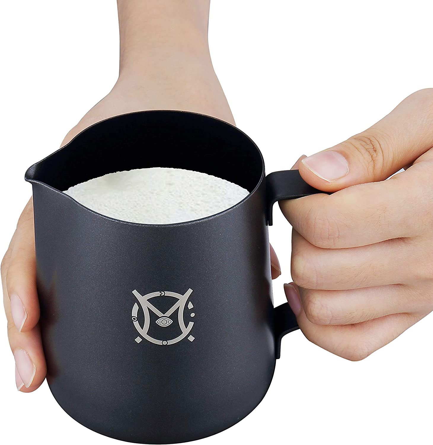 Non Stick Coating Latte Art Espresso Cappuccino Metal Milk Steaming Pitcher Black 20oz//600ml Magicaf/é Milk Frothing Frother Pitcher