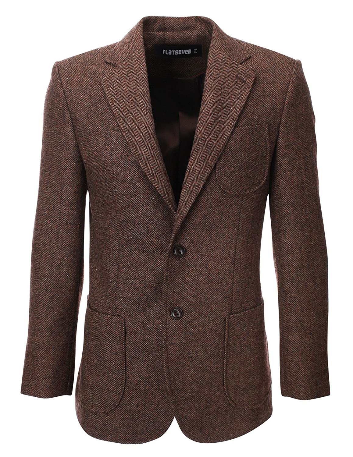Men's Vintage Style Coats and Jackets FLATSEVEN Mens Herringbone Wool Blazer Jacket with Elbow Patches $149.99 AT vintagedancer.com