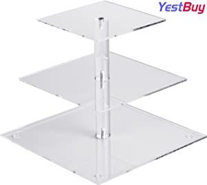 YestBuy 3 Tier Cupcake Stand, Acrylic Cupcake Tower Stand, Premium Cupcake Holder For 28 Cupcakes, Display for Pastry Wedding Birthday Party (4