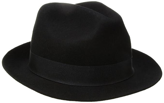 7eb7bc9d SCALA Men's Raw Edge Felt Fedora Hat, Black, Large at Amazon Men's Clothing  store: