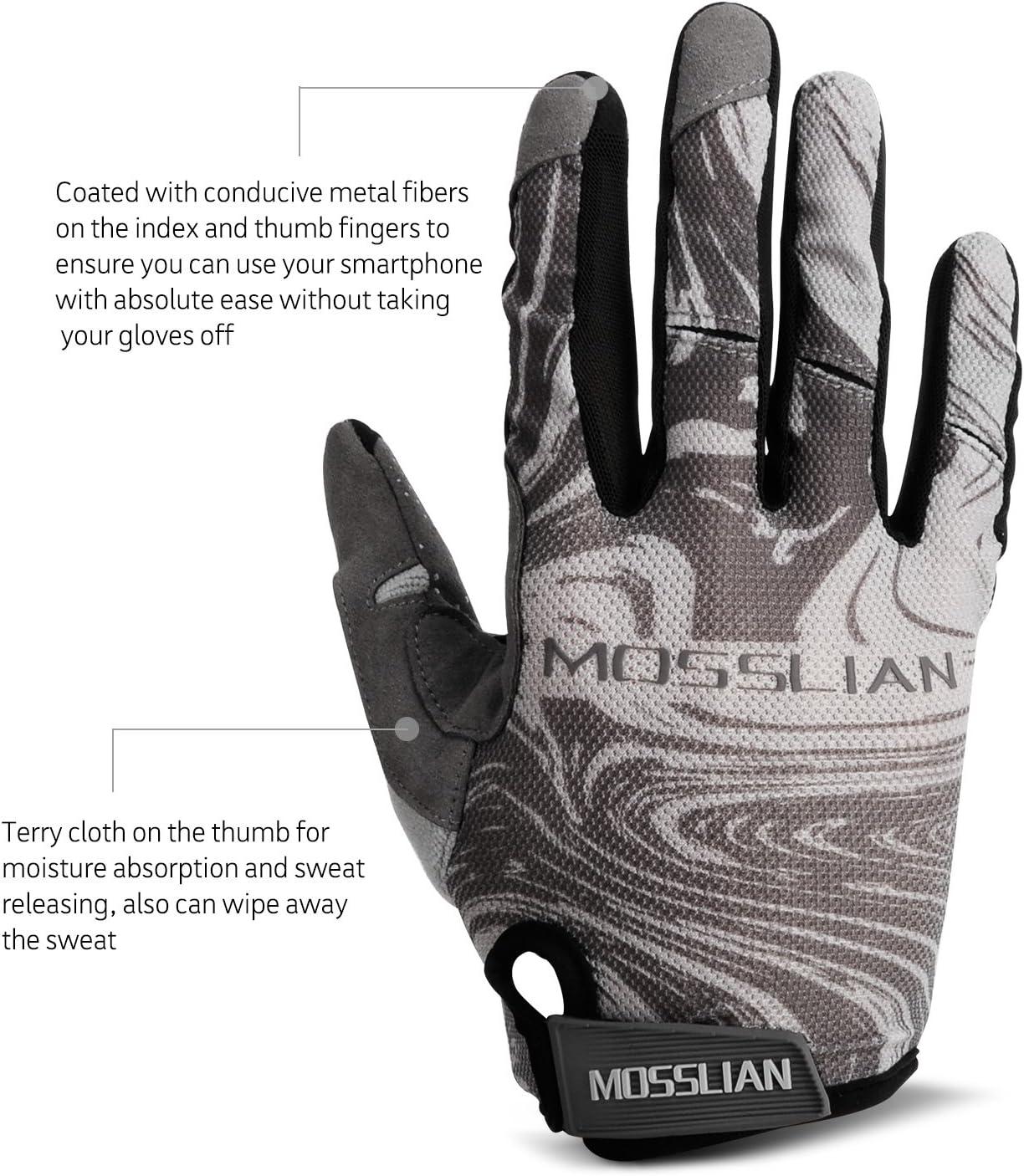 Reflex Gel Padded Touch Screen Bike Gloves for Men /& Women. MOSSLIAN Cycling Gloves Full Finger Riding Gloves,Anti-Slip Shock