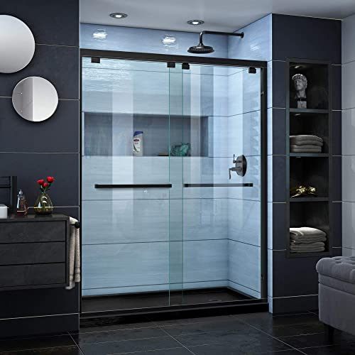 DreamLine Encore 30 in. D x 60 in. W x 78 3 4 in. H Bypass Shower Door in Satin Black and Right Drain Black Base Kit, DL-7004R-88-09