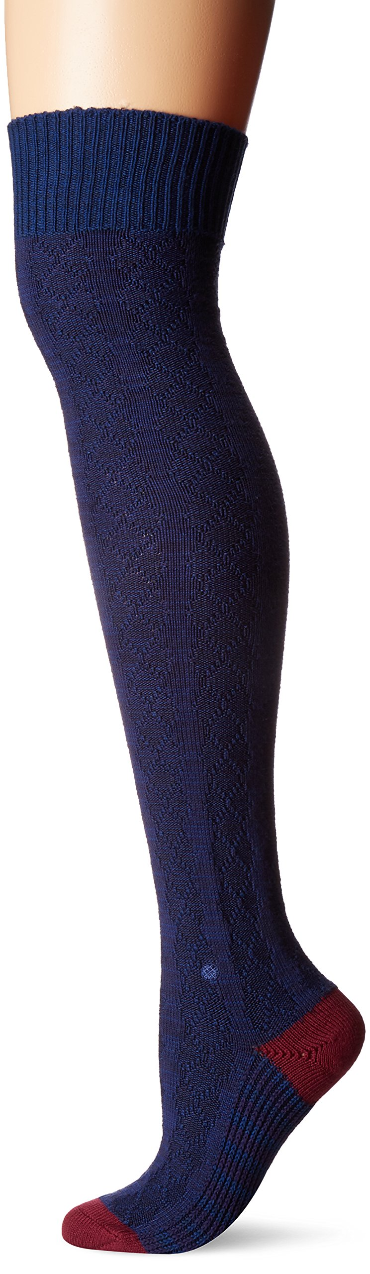 Stance Women's Fine Line Striped Arch Support Over the Knee Sock, Navy, One Size