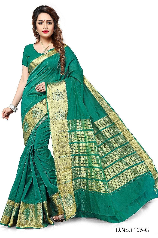 d2d82b2edf Mahadev Enterprises Dark Green Banarasi Silk Saree With Blouse Piece:  Amazon.in: Clothing & Accessories