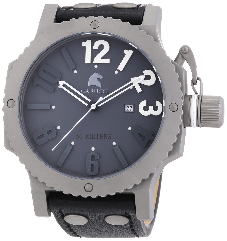 Carucci Watches Herren-Armbanduhr XL Analog Automatik Leder CA2211GR-BK