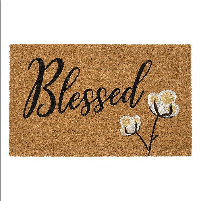 "Avera Products | Blessed Cotton Bloom, Natural Coir Fiber Doormat, Anti-Slip PVC Mat Back | 29"" x 17"""