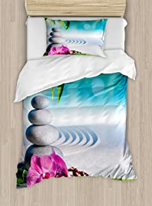 Ambesonne Spa Duvet Cover Set, Sand Orchid and Massage Stones in Garden Sunny Day Meditation Yoga, Decorative 2 Piece Bedding Set with 1 Pillow Sham, Twin Size, Blue Gray