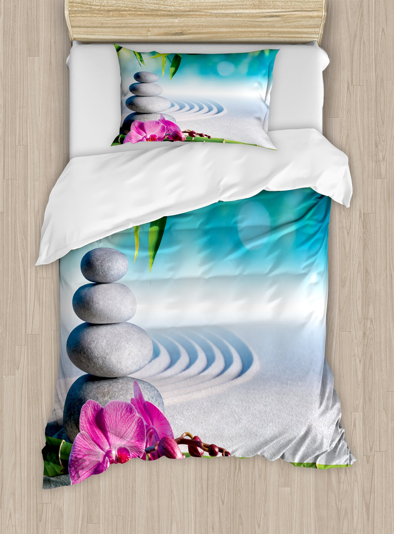 Ambesonne Spa Duvet Cover Set Twin Size, Sand Orchid and Massage Stones in Zen Garden Sunny Day Meditation Yoga, Decorative 2 Piece Bedding Set with 1 Pillow Sham, Blue Fern Green Fuchsia