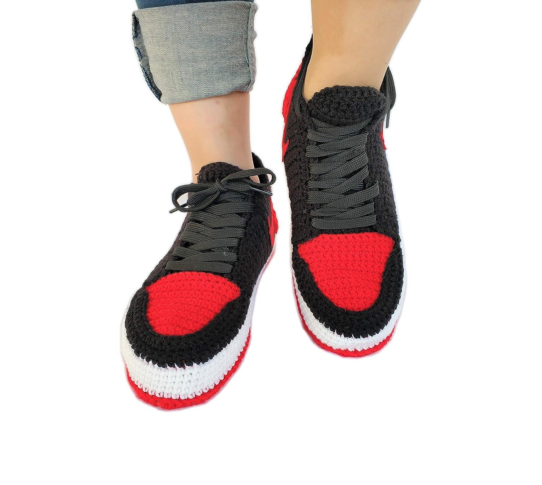 f0711f3ca1e Crochet Air Jordan 1 Retro Basketball Flyknit Sneaker Custom Jumpman  Knitting Slippers BRED TOE larger image