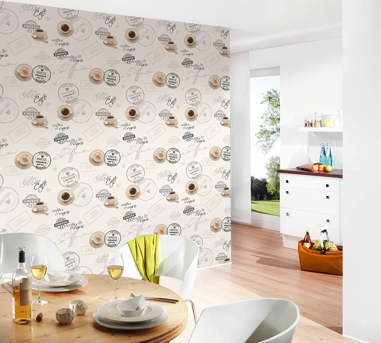 Marron BRICOFLOR Papier peint papier Taille 10,05 x 0,53 m = 5.33 m/² BR943082P576SIR Papier peint cuisine Beige//Cr/ème Papier peint vintage Tapisserie cuisine