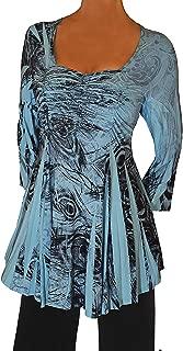 product image for Funfash Plus Size Women Slimming A Line Rhinestones Blue Black Top Shirt Blouse