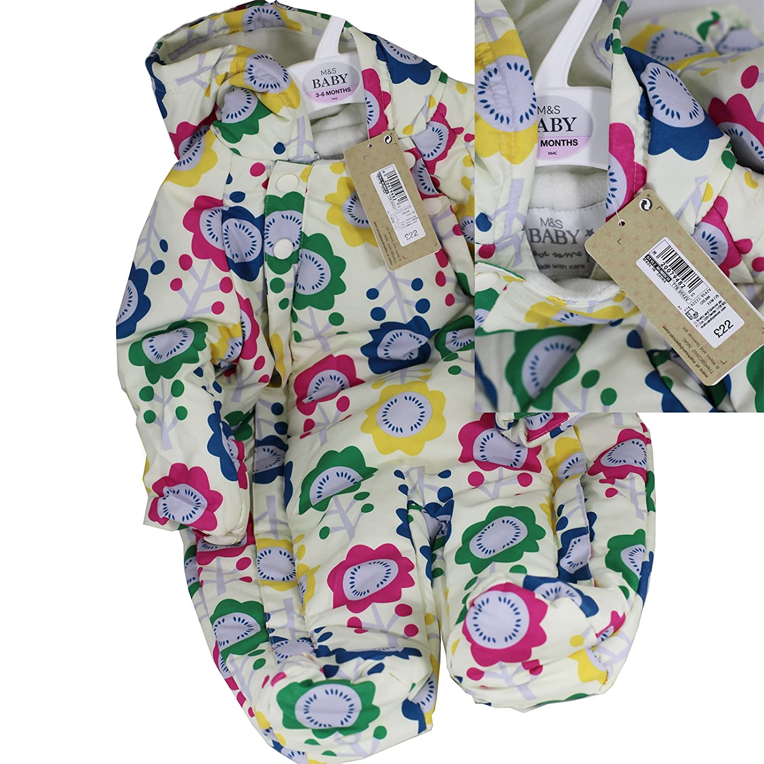 Ex UK Store Baby Girls Cream Floral Snowsuit Marks & Spencer RRP £22
