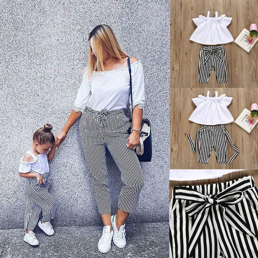 2ps Womola Toddler Kids Baby Girl Outfits Clothes Halter Top Striped Pants