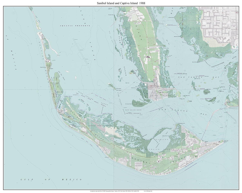 Amazon.com: Sanibel Island & Captiva Island, Florida 1988 Topo Map ...