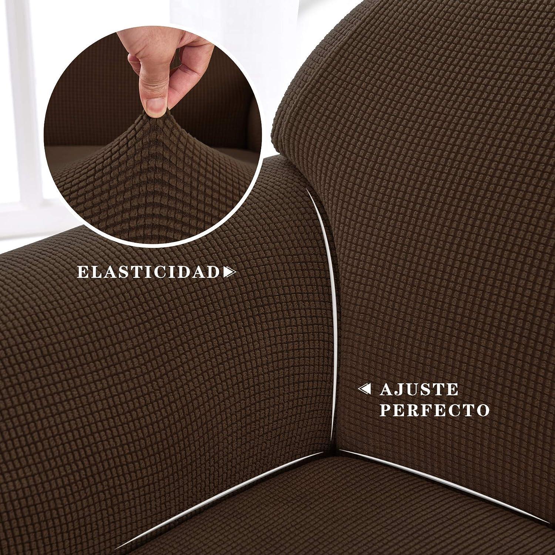 subrtex 1 Pieza Funda de Sofá Poliéster Elástica Cubierta de Asiento Forro de Sofá Doméstico (2 Plazas, Café): Amazon.es: Hogar