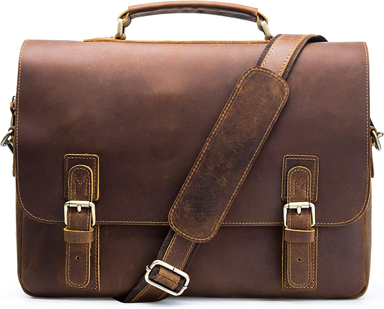 Jack&Chris 15.6 inch Leather Messenger Bag Genuine Leather Briefcase for Men Flapover Satchel Leather Messenger Laptop Bag