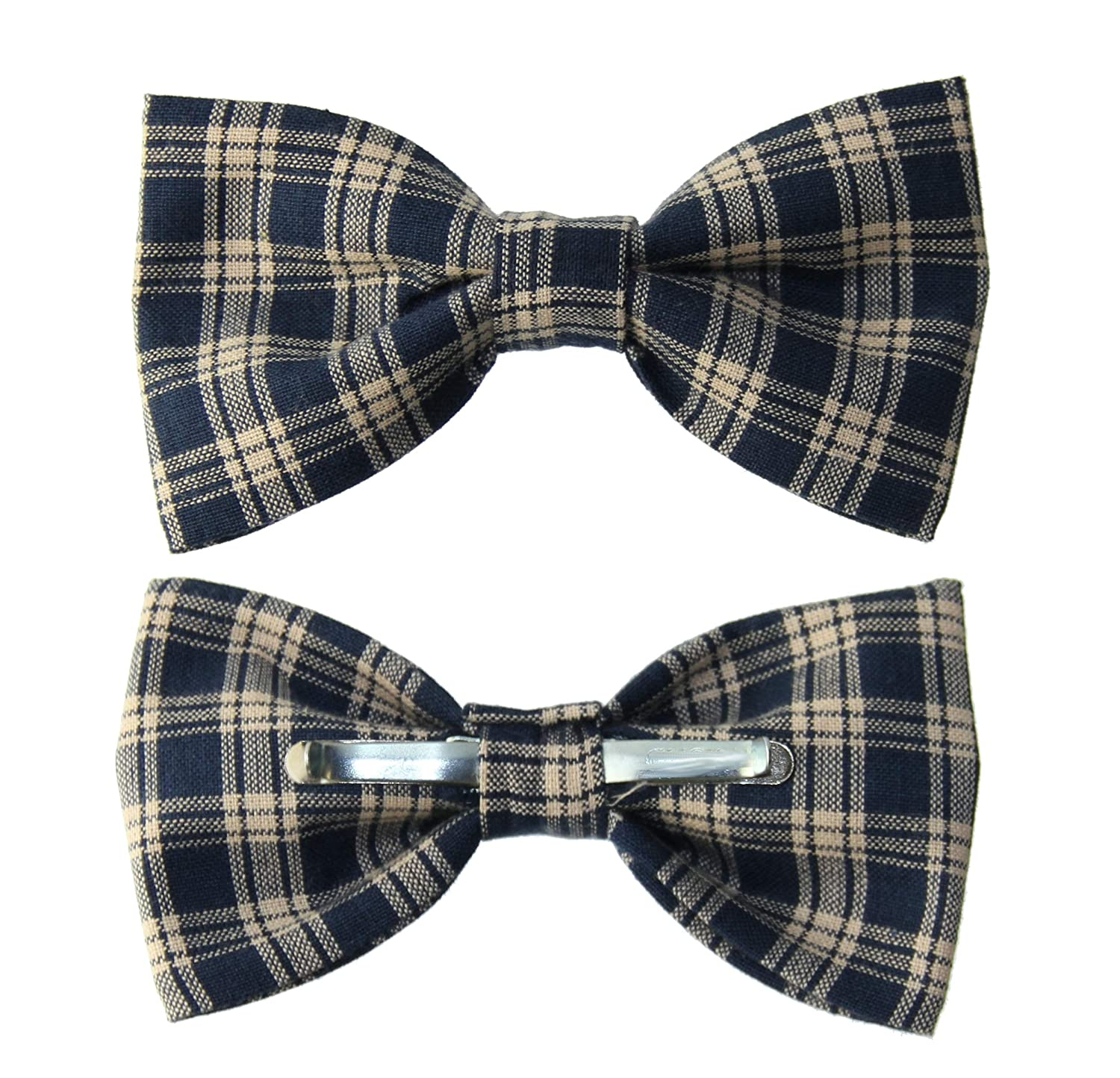 Mens Navy Blue//Beige Plaid Clip On Cotton Bow Tie