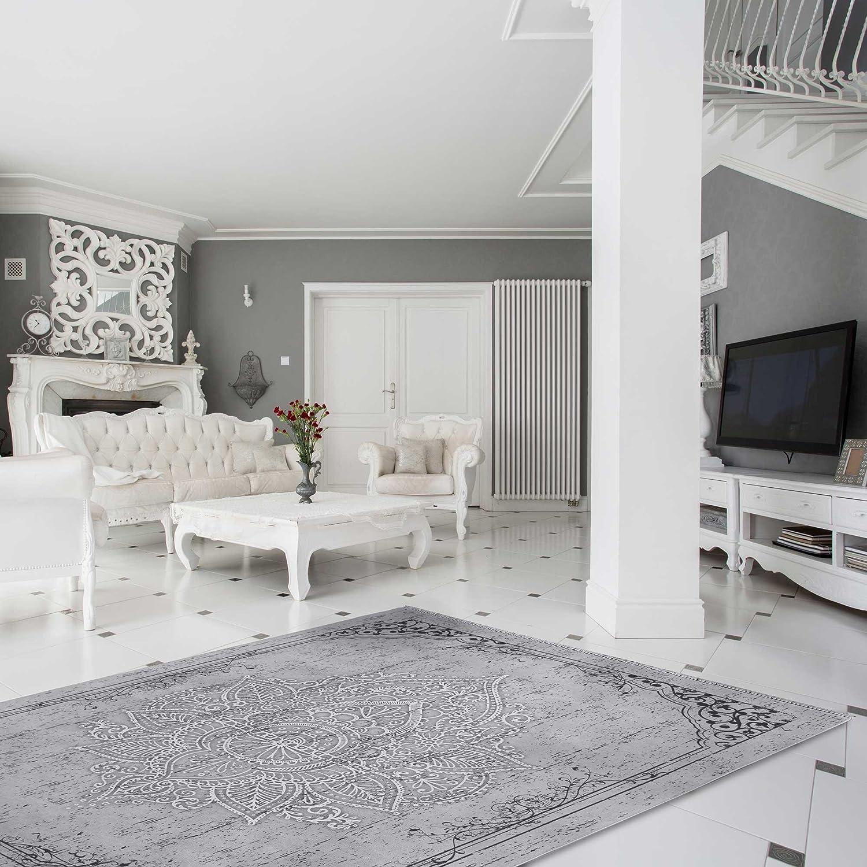 Teppich Kelim Kilim Grau Schwarz Vintage Blüte Rokoko rutschfester Badteppich waschbar pflegeleicht Modern, hochwertige Webung versch. Größen (160cm x 230cm)