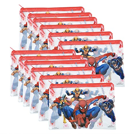 Asera 12 Pcs Big Size Spiderman Design Kids Pencil Pouch For Birthday Return Gifts