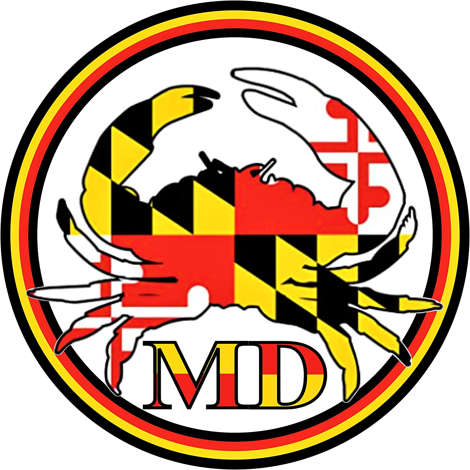 Maryland Crab State Flag Sticker - All Weather Auto Premium Vinyl Auto Decal 3x3 | for Car Bumper Window Hydro-Flask Water Bottle Laptop Computer Mirror + Better Than Magnets - Sticks Anywhere 3 inch