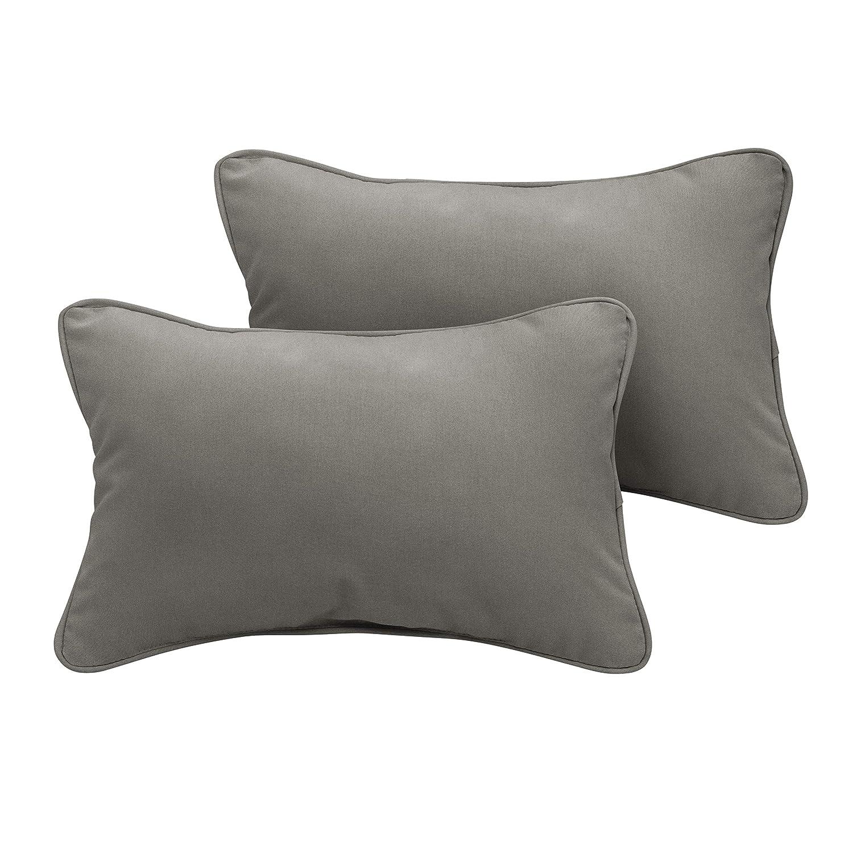 1101Design Sunbrella Canvas Charcoal Corded Decorative Indoor Outdoor Lumbar Throw Pillows, Perfect Patio D cor – Charcoal Grey 12 x 18 Set of 2