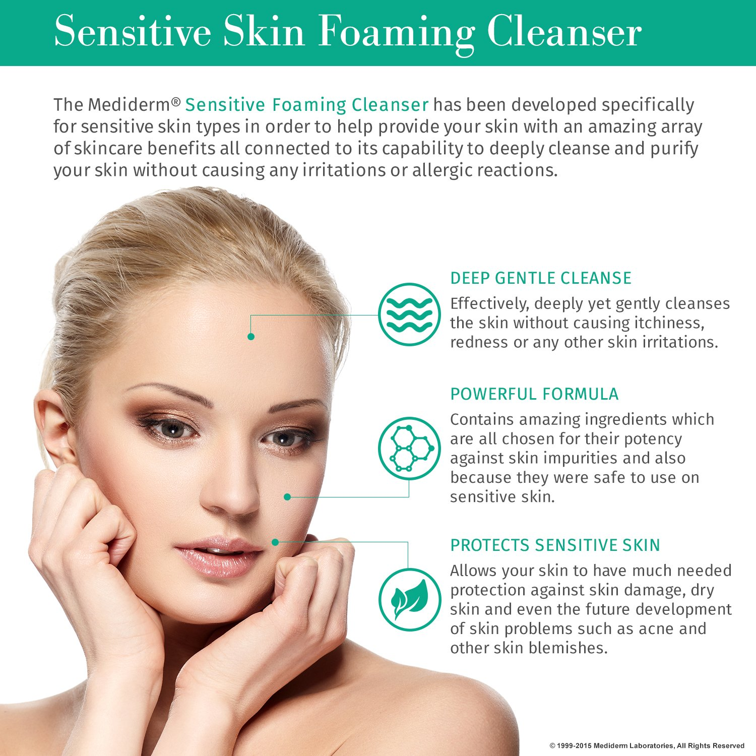 MediDerm Facial Foaming Cleanser for Sensitive Skin, Gentle Face Wash  Removes Impurities,